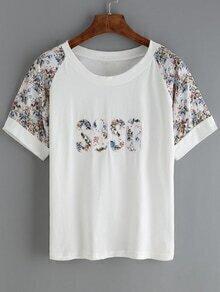 Raglan Sleeve Florals T-shirt