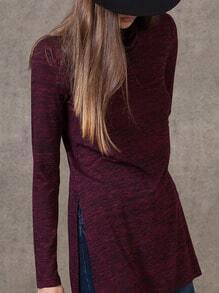 Burgundy High Neck Side Slit Dip Hem T-shirt