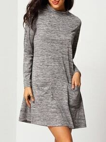 Grey Mock Neck Pockets Dress