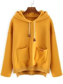 Hooded Drawstring Dip Hem Split Side Sweatshirt With Pockets