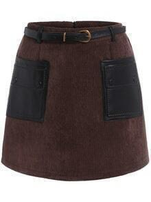 Contrast Pockets A-Line Coffee Skirt With Belt