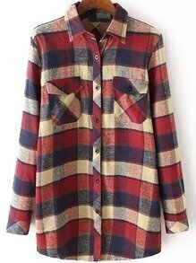 Random Plaid Patchwork With Pockets Burgundy Blouse