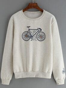Round Neck Bicycle Print Pale Grey Sweatshirt