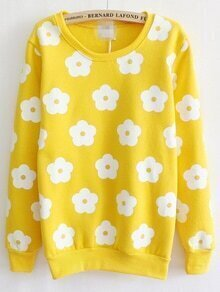 Flower Print Thicken Yellow Sweatshirt