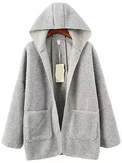 Women Hooded Fleece Grey Coat