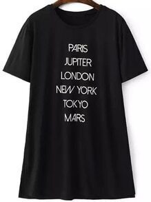 Letter Print Split Side T-shirt