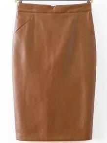 Pencil PU Khaki Skirt