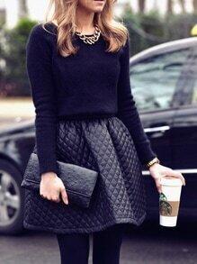 Black PU Leather Flare Skirt