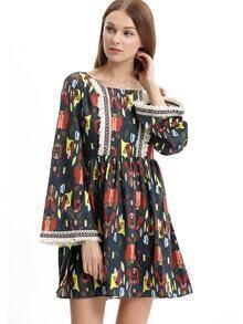 Floral Backless Vintage Fringe Dress