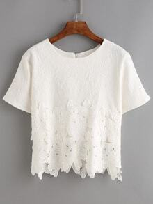 blusa encaje forro jacquard-blanco