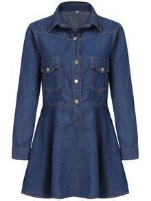 Lapel Denim A-Line Shirt Dress With Pockets
