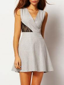 V Neck Contrast Lace A-Line Dress
