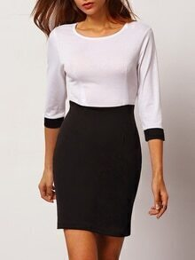 Crew Neck Color-block Pencil Dress