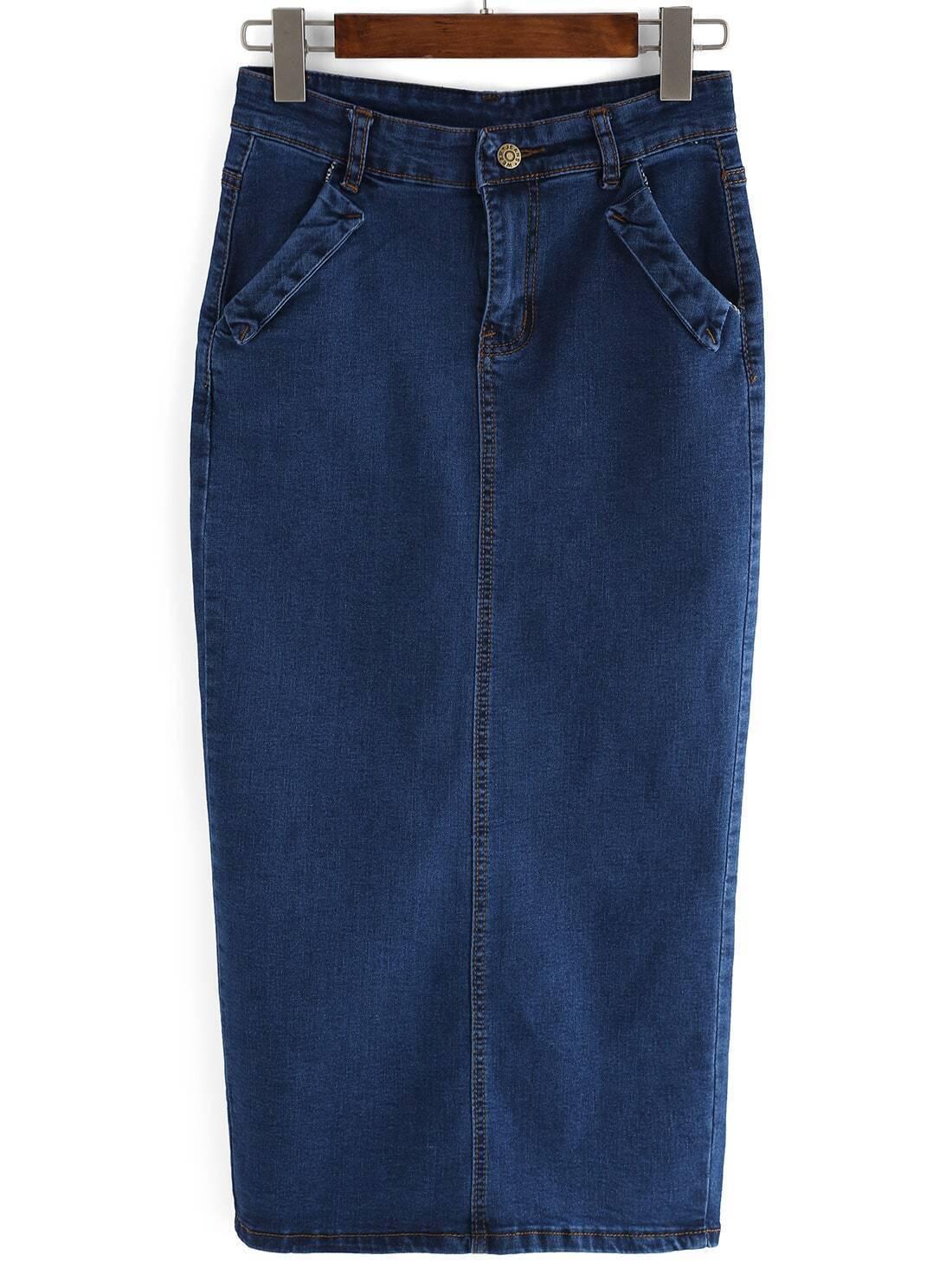 split back denim skirt
