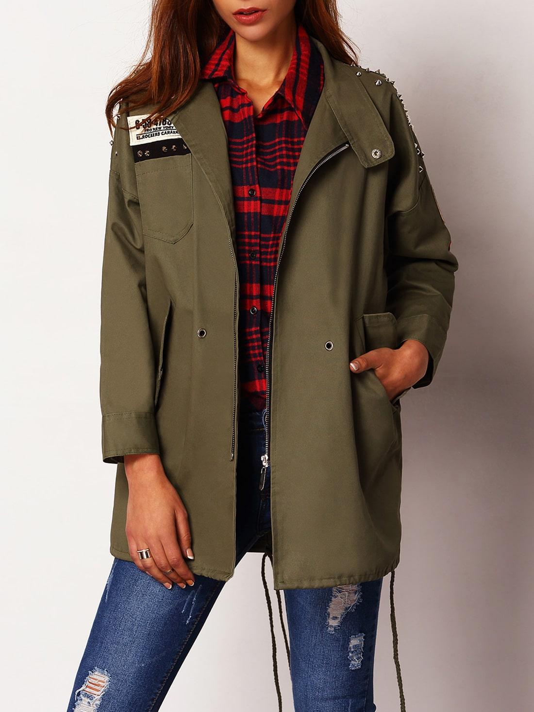 Manteau fendu avec cordon et pi ce su d french romwe for Acheter maison suede