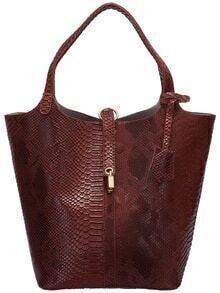 Brown Crocodile Two Piece Shoulder Bag