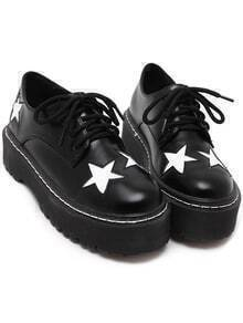 Black Star Lace Up Thick-soled Shoes