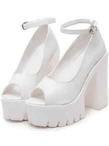 White Peep-toe High Block Heel Pumps