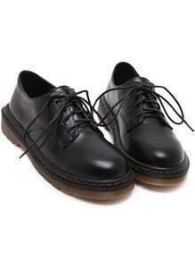 Black Round Toe Lace Up Flat Shoes