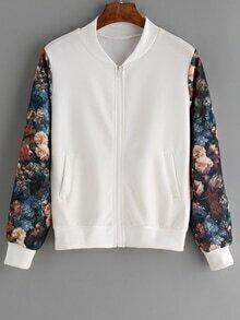Contrast Florals Zipper Jacket