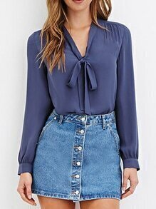 V Neck Bow Chiffon Blue Blouse