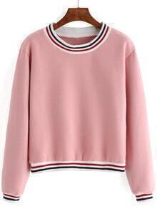 Striped Thicken Pink Sweatshirt