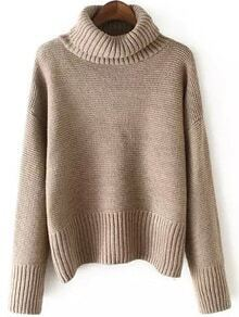 Turtleneck Dropped Shoulder Seam Pale Khaki Jumper