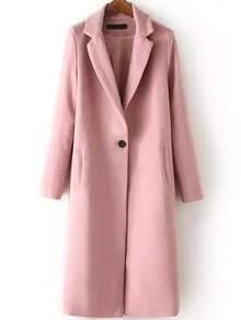 Notch Lapel Single Button Split Side Long Pink Coat