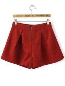 A-Line Red Shorts With Zipper