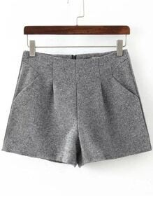 Zipper Slim Grey Shorts