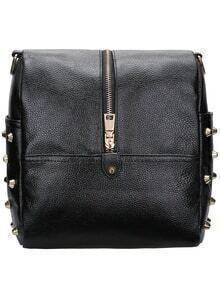Black Zipper Rivet Satchel Bag