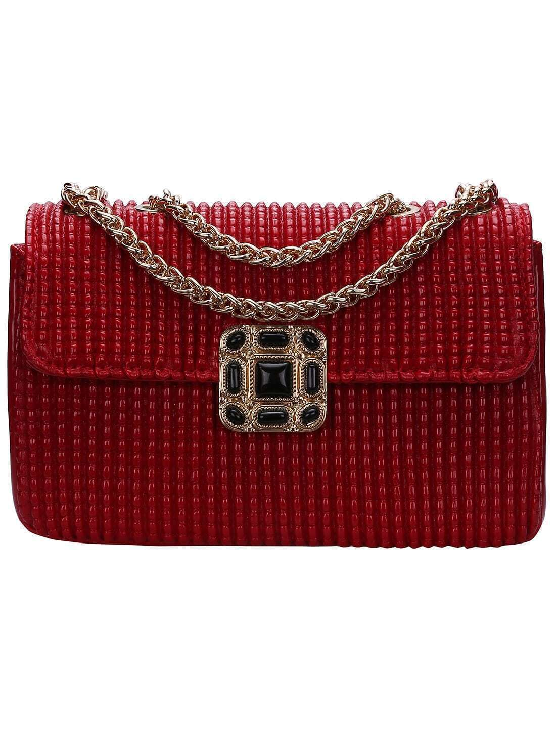 Sac cha ne avec m tal rouge french romwe for Interieur paupiere inferieure rouge