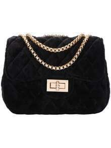 Black Twist Lock Diamond Chain Bag