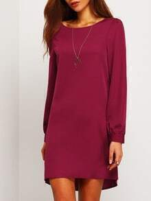 Purple Long Sleeve Casual Dress