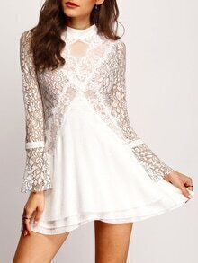 Bell Sleeve Hollow Back Lace Dress
