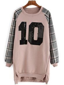 Plaid 10 Embroidered Sequined Sweatshirt Dress