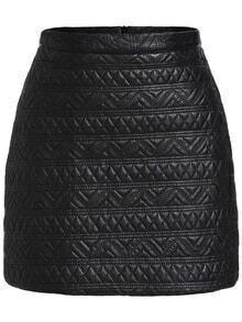 Geometric Pattern PU Skirt