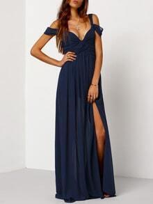 Vestido largo hombro al aire-azul marino