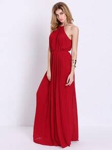 Wine Red Evening Sleeveless Halterneck Pleated Infinity Maxi Dress