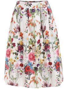 Elastic Waist Florals Skirt