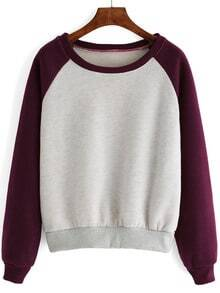 Raglan Sleeve Color-block Thicken Sweatshirt