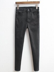High Waist Denim Slim Black Pant