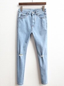 High Waist Ripped Denim Slim Pale Blue Pant