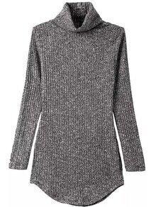 Turtleneck Curved Hem Grey Sweater Dress