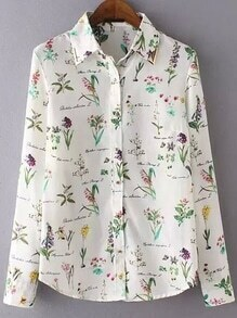 Lapel Florals Slim Blouse