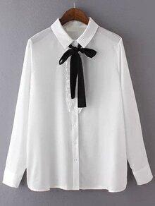Tie Collar Frills White Blouse