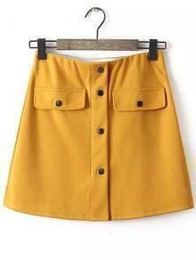 Single Breasted A-Line Yellow Skirt