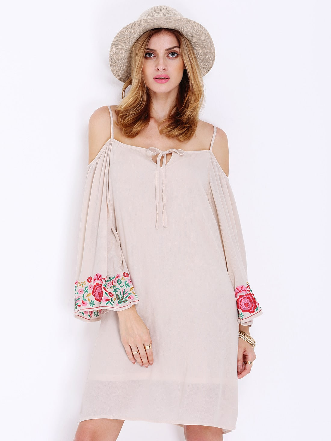 Apricot Long Sleeve Off The Shoulder Embroidered DressFor Women-romwe