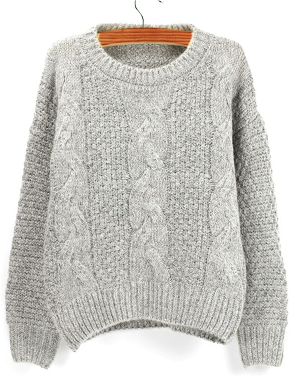 Knitting Sweaters In The Round : Grey round neck chunky cable knit sweaterfor women romwe