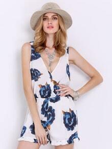 White V Neck Floral Print Jumpsuit